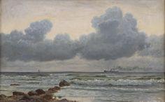 Christian Blache 1838-1920: Marine. Sign. Chr. Blache, Hirtshals 1912. Olie på lærred. 39 x 63 cm (54 x 78 cm).