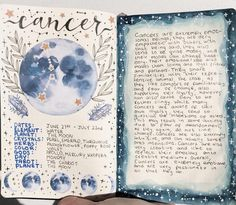 Who are my Cancerian babies? ✨🌙 (got so excited that I wrote planet twice). I am a cancer moon, anyone else? Bullet Journal Ideas Pages, Bullet Journal Inspiration, Art Journal Pages, Grimoire Book, Wiccan Spell Book, Norse Pagan, Cancer Moon, Baby Witch, Book Of Shadows