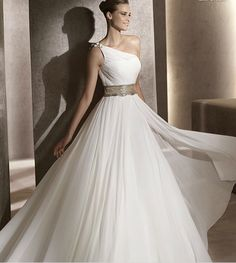 2015 Discount One Shoulder Wedding Gown Featured Ruching Chiffon A-line