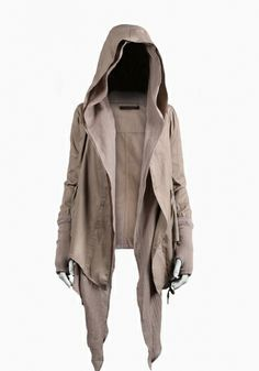 PUCKERED CANVAS HOODED DRAPE JACKET. WOOL RIBBED CUFFS WITH THUMBHOLES. COTTON GAUZE DRAPE FRONT DETAIL AND DRAWCORD WAIST. DUAL HAND FLAP POCKETS. 100% COTTON.