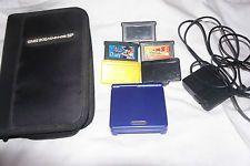 Nintendo Game Boy Advance SP Cobalt Blue Handheld + 3 games