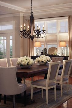 find this pin and more on interiors rectangle formal dining room table with elegant cushioned chairs - Dining Room Color Ideas With Chair Rail