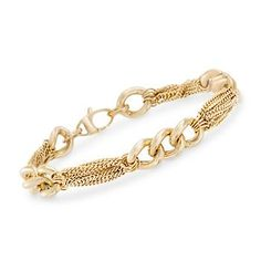 Curb links in groups of three connect with plush, twisting chains of 14kt yellow gold to create this very posh bracelet which commands attention. Made in Italy. Lobster clasp, Italian 14kt yellow gold link and chain bracelet. Free shipping & easy 30-day returns. Fabulous jewelry. Great prices. Since 1952.