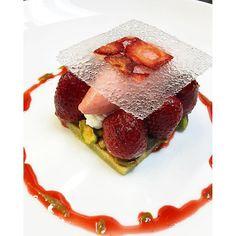 Strawberries & Cream, Sicilian Pistachio Moelleux, Roasted Strawberries, Strawberry Black Pepper Sorbet. #Deuxave @shvelez #pastrychef #dessert #chefsofinstagram #cheflife