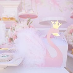 Swan favor box from a Whimsical Swan Soiree on Kara's Party Ideas | KarasPartyIdeas.com (22) #swanparty #soiree #kidspartyideas #1stbirthdayparty #ballerinaparty #prettyparty #girlparty