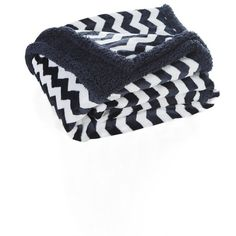 Lala + Bash 'Fifi' Throw (£29) ❤ liked on Polyvore featuring home, bed & bath, bedding, blankets, navy, navy fleece blanket, chevron fleece blanket, navy blue fleece blanket, navy bedding and fleece throw blanket
