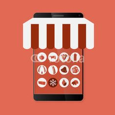 Phone Market #buttons #designs #internet, #tools #icon #technology #image #decoration #market #buy #sales #people #mall #concept #online #commerce #graphic #vector
