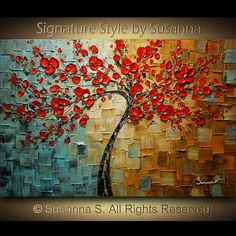 ORIGINAL Abstract Contemporary Red Cherry Blossom Tree Painting Blue Brown Thick Texture Ready to Hang Gallery Canvas by Susanna Red Cherry Blossom, Colorful Trees, Blossom Trees, Painting Edges, Room Colors, Decoration, Contemporary, Wall Art, Landscape
