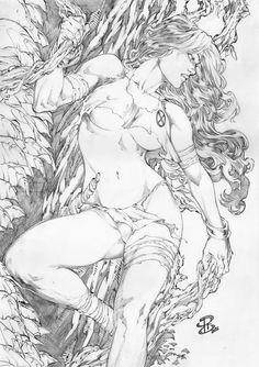 Rogue Savage Land Pin-Up Original Art By Lady Death Artist Renato Camilo Comic Art