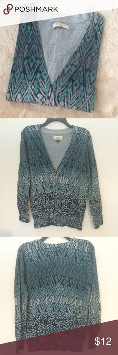 Gorgeous Printed Cardigan Gorgeous Navy blue and teal patterned cardigan. Super soft feel. V-neck with buttons.   Size Large 100 percent cotton Previously owned, still in perfect condition Sonoma Sweaters Cardigans