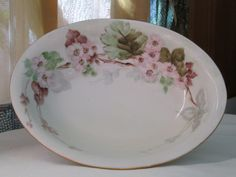 """10"""" OVAL SERVING BOWL Hand Painted Ceramic  Cherry Blooms Gold Rim - Shabby Chic Vintage - pinned by pin4etsy.com"""