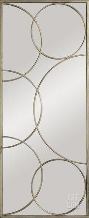 Kyrie Enclosed Circles Antique Silver Mirror Wall Mirror at Art.com