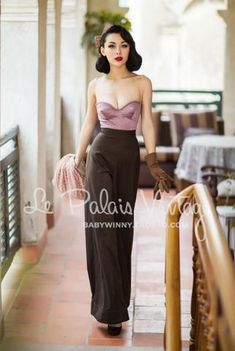Le Palais Vintage Pink Corselet With Taupe Wide Leg Pant Jumpsuit - just what winter ordered!