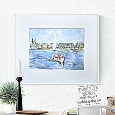 Derzeit gehen furchtbare Bilder von unserem schönen Hamburg durch die Welt. Das ist mein Hamburg und mein Bild davon - ich hoffe es wird bald wieder so heiter aussehen wie hier. Mein Mitgefühl ist bei allen die durch die Krawalle rund um den #g20 Gipfel beeinträchtigt werden und meine Sorge bei meinen Freunden die vor Ort leben.  .  #wandklex #malerei #handgemalt #aquarell #hahnemühle #kunst #art #watercolor #watercolour #hamburg #binnenalster #alster #stpauli #stmichel #hamburgermichel…