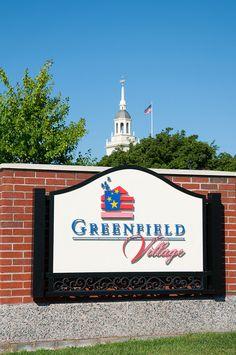greenfield village, dearborn | greenfield village entrance sign greenfield village dearborn michigan ...