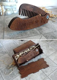 Beard comb Folding beard comb Personalized Wooden от WoodenMaden