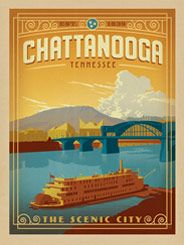 Chattanooga, TN - This classic print of downtown Chattanooga, Tennessee features the charming riverfront, skyline and draw bridge set in a bold color palette before majestic Lookout Mountain.