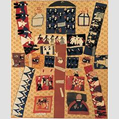 """""""SACRET BIBEL"""" QUILT TOP /Susan Arrowood, possibly West Chester, Pennsylvania, 1875–1895, cotton, silk, wool, and ink, with cotton embroidery, 88 1/2 × 72"""", collection American Folk Art Museum, gift of the Amicus Foundation, Inc., and Evelyn and Leonard Lauder Accession: 1986.20.1.  Photo credit: Schecter Lee."""