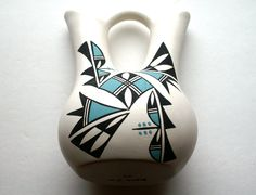 Acoma Pottery Native American Wedding Vase Hand Made in New Mexico.