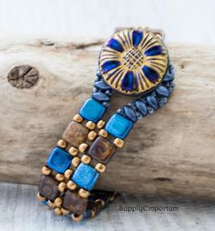 Cobalt Sunflower BEAD PACK BB48 for CzechMates Tile Cuff by