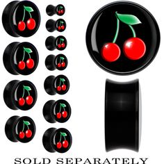 Black Acrylic Black Red Cherry Saddle Plug | Body Candy Body Jewelry