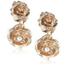 """$101 Sam & Goldie """"Birds & Bees"""" Rose Gold Plated Bridal Veil Falls Earrings - designer shoes, handbags, jewelry, watches, and fashion accessories 