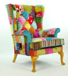 Bespoke patchwork armchair in designer velvets door JustinaDesign