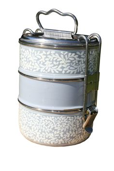 3 Tier Grey and White Handpainted Tiffin
