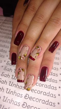 Modelos de Unhas decoradas com Rosas Nail Polish Designs, Nail Art Designs, Burgundy Nail Designs, Elegant Nail Art, Special Nails, French Nail Art, Glitter Nail Art, Stylish Nails, Nail Arts