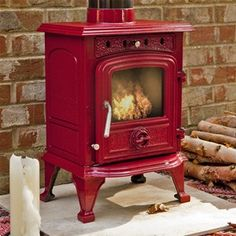 Rhone 4.5Kw Red Enamelled Wood Burning Stove