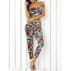 DressLily - Dresslily Off The Shoulder Print Crop Top and  Skinny Ninth Pants Twinset - AdoreWe.com