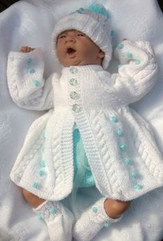 Angies Angels patterns - exclusive designer knitting and crochet patterns for your precious baby or reborn dolls, handmade, handknitted, baby clothes, Free Baby Patterns, Baby Knitting Patterns, Knitting Designs, Free Pattern, Emma Bebe, Knitted Baby Clothes, Baby Girl Crochet, Sweater Set, Baby Cardigan