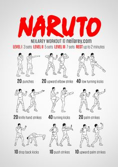 Naruto Workout / What it works: Triceps shoulders intercostal muscles quads front hip flexors side hip flexors lower abs. calves glutes lower back cardiovascular system aerobic system Max). Fitness Workouts, Hero Workouts, Gym Workout Tips, Ab Workout At Home, At Home Workouts, Workout Plans, Workout Routines, Fitness Diet, Boxer Workout