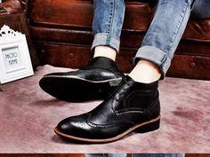 Sapato Brogue Wingtip Bota Oxford Couro Hipster Importado - loja online