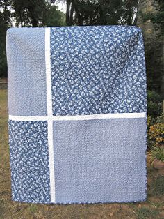 The Fleming's Nine: Blue and White Quilt ~ quilt back idea