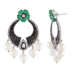 925 Three Tone Sterling Silver Rhodium Plated Emerald Enticing Idealist Charm Flower Freshwater Pearl Dangle Drop Traditional Chandbali Earrings Enquiry :-ecomemeraldsbazar@gmail.com #Bride Wear #Gorgeous #Handmade #Vintage #Popularity #Arrivals #Fine Gemstone #Pearl Drop #Ethical #Rose Cut Diamond #4 Prong #Filigree #Jewelry