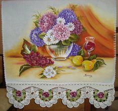 Pano de copa com pintura em tecido e croche tecido estilotex,100% algodao