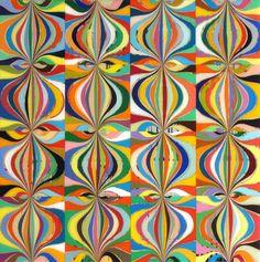 "Mark Ottens, UNTITLED (Onion Rows), Acrylic on Panel, 12 x 12 x 2"""