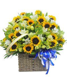 Một số bí quyết chọn hoa chúc mừng sinh nhật bạn nên biết để lựa chọn cho mình một bó hoa hay lẵng hoa thật đẹp để tặng vào sự kiện sinh nhật. Sunflower Wedding Decorations, Backyard Wedding Decorations, Beautiful Flower Arrangements, Floral Arrangements, Beautiful Flowers, Flower Basket, Flower Boxes, Flower Stands, Blossom Flower