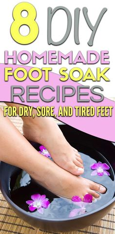 Easy diy foot soak for calluses recipes. 8 easy foot bath recipes that include epsom salt and listerine to get rid of calluses, dry skin, and sore feet. Homemade Foot Soaks, Diy Foot Soak, Foot Soak Recipe, Bath Recipes, Sore Feet, Listerine, Epsom Salt, Dry Skin, Rid