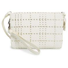 Vince Camuto 'Cami' Woven Leather Crossbody Bag (165 AUD) ❤ liked on Polyvore featuring bags, handbags, shoulder bags, leather cross body purse, leather crossbody, genuine leather shoulder bag, crossbody handbags and wristlet crossbody