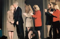 President Bill Clinton hugs and kisses wife Hillary during a presidential victory celebration at the Governor's mansion in Little Rock Arkansas...