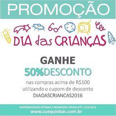 zpr Promoção Dia das Crianças!🛍 Utilize o cupom de desconto DIADASCRIANCAS2016 e GANHE 5️⃣0️⃣% DE DESCONTO no total de compras a partir de R$100,00. Válido para todo o site até dia 12/10/2016. Aproveite!!!! www.cuequinhas.com.br  #diadascrianças #promoção #modamenino #modainfantil #cuequinhas #lojacuequinhas #lojaonline #ecommerce #meninos #menino #maedemeninos #paidemeninos #multimarcas