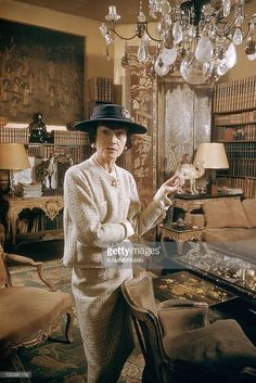 Coco Chanel in Paris, France in 1959 - Miss Coco Chanel. Coco Chanel's appartment, Cambon street.