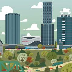 2017 Edmonton Skyline paper 2nd Edition - Edmonton Landmark art print, home decor  Edmonton landmark art print with a unique Mid-Century / Folk Art take. A perfect Edmonton gift idea for any city lover or that poor soul that is leaving town. Purchase on www.snowalligator.com  Illustration by local artist Jason Blower  #yeg #yegart #yegwallart #wallart #EdmontonArt #edmontongift #yeggift #snow_aligator #charmingart #cuteart #midCentury #Folkart #cuteart #charmingart #edmontonartist