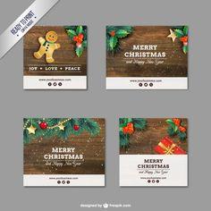 Banners navideños de madera Vector Gratis