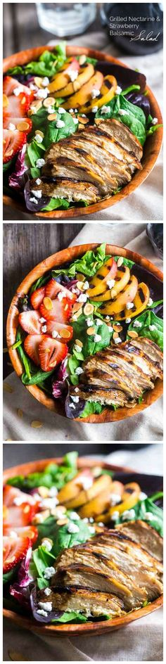 Strawberry Balsamic Chicken Salad with Grilled Nectarines- Fast, fresh, gluten free and healthy, this salad is summer in a bowl!
