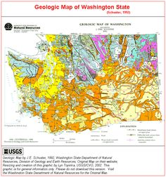 Topographic map of washington story board detox pinterest schuster 1992 geologic map of washington state sciox Choice Image