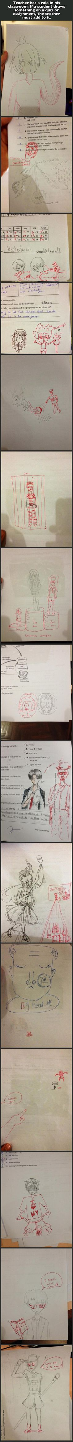 If only my teachers were this awesome... They don't like it at all if I draw on my papers...