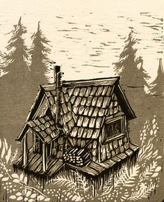 cabin lino print from JOANNA LISOWIEC